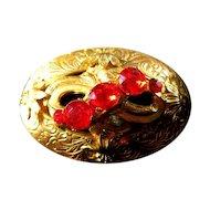Orange Rhinestone Vintage Brooch Pin Vintage Fashion Jewelry