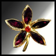Fire Red Rhinestone Floral Pin