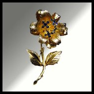 Blue Rhinestone Jiggle Flower Pin