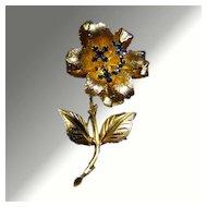Blue Rhinestone Jiggle Flower Pin