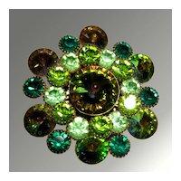 Green Rhinestone Pin With Exceptional Rivoli Center Stone