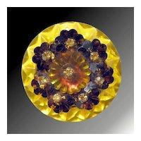 Brilliant Yellow and Orange Glass & Plastic Pin