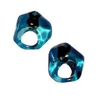 Retro Chunky Bright Turquoise Blue Earrings