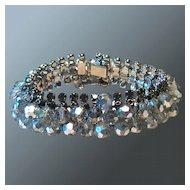 Vintage Crystal Rhinestone Dangle Bracelet with Safety Clasp