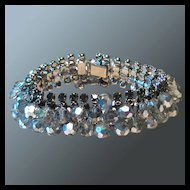 Vintage Crystal Rhinestone Dangle Bracelet with Safety Clasp