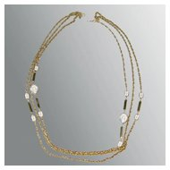 Multi Strand Chain and Crystal Full Length Necklace