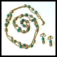 Celebrity Turquoise and Tan Chain Necklace and Earring Set
