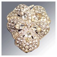 White Metal Casting Floral White Rhinestone Dress Clip
