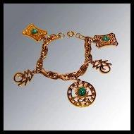 Hattie Carnegie Asian Charm Bracelet Vintage Fashion Jewelry