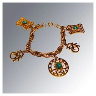Hattie Carnegie Asian Charm Bracelet Vintage Fashion Jewelry
