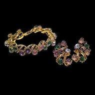 Florenza Multi Colored Rhinestone Bracelet and Earrings / Vintage Signed Jewelry / Florenza