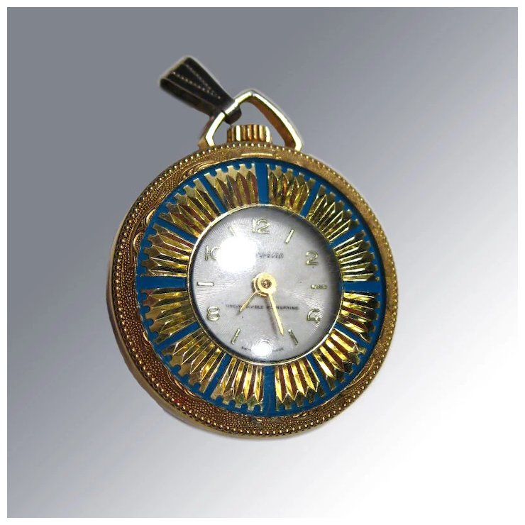 Vintage lucerne wind up watch pendant blue enamel with gold vintage lucerne wind up watch pendant blue enamel with gold sunbursts swiss made mozeypictures