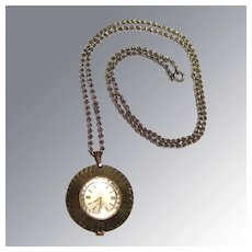 Starlite Vintage Wind Up Mechanical Watch Pendant on Chain in Working Condition