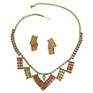 Rainbow Rhinestone Necklace and Earring Set