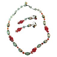 Crystal and Coral Vintage Necklace and Earring Set