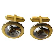 Intaglio Glass Essex Crystal Horse Cuff Links