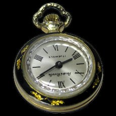 Andre Rivalle 17 Jewel Wind Up Womans Watch Black Enamel Wtih Gold Leaf Engraved Design / Working Condition