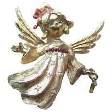 MYLU Angel Rhinestone Pin With Dangling Star / Signed Jewelry / Vintage Jewelry / Holiday Jewelry