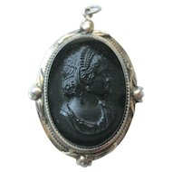 Black Glass Cameo Locket Pendant / 1940s Pendant / Vintage Fashion / Vintage Jewelry / Womans Gift Jewelry