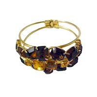 Amber and Topaz Colored Rhinestone Clamper Bracelet / Costume Jewelry / Womans Gift
