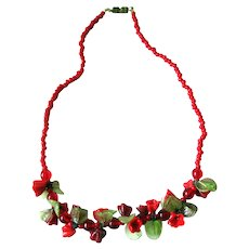 Cherry Red Art Glass Floral Necklace