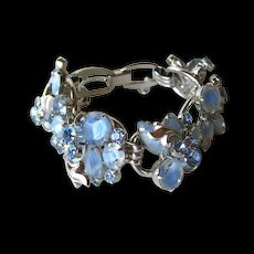 Juliana D and E Blue Rhinestone Bracelet with Raised Leaf Accents / Vintage Bracelet / DeLizza and Elster / Designer Jewelry