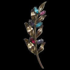Sterling & 14K Symmetalic Flower Spray Pin