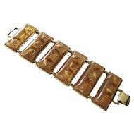Goldflake Vintage Lucite and Shell Extra Link Wide Bracelet / Vintage Jewelry / 1950s Bracelet / Pin Up Girl Bracelet