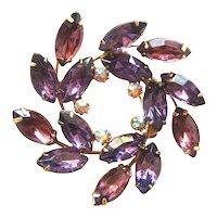 Vintage Amethyst Rhinestone Circle Pin / Vintage Rhinestone Jewelry / Purple Rhineston Pin