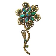 Vintage Western Germany Green Rhinestone Flower Pin/ Floral Brooch / West Germ an Pin