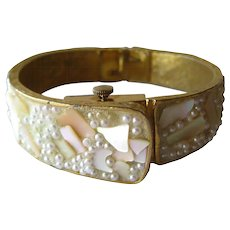 Vintage Bypass Watch Bracelet / Norman Swiss Movement Mother Of Pearl and Bead Mechanical Watch Bracelet in Working Condition / Vintage Jewelry
