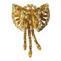 Vintage Orange and White Rhinestone Dimensional Pin With Fringe Dangles/ Vintage Jewelry