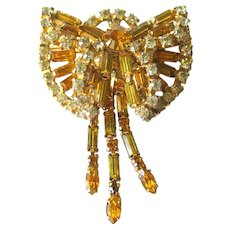 Vintage Orange and White Rhinestone Dimensional Pin With Fringe Dangles/ Vintage Jewelry