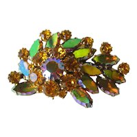 Vintage Orange and Aurora Borealis Rhinestone Pin / Vintage Jewelry / Designer Jewelry / Autumn Brooch