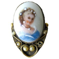 Limgoes French Hand Painted Portrait Pin / Vintage Fashion / Vintage Jewelry / Womans Gift Jewelry