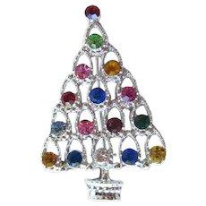 Vintage Rhinestone Christmas Tree Pin / Vintage Jewelry / Holiday Pin / Christmas Brooch
