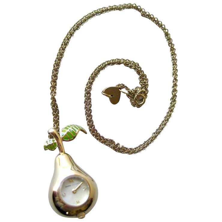Marc jacobs pear watch pendant necklace in working condition marc jacobs pear watch pendant necklace in working condition designer jewelry vintage jewelry 1960s aloadofball Gallery