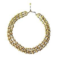 Trifari Gold Nugget and Glass Bead Three Strand Necklace / Fashion Jewerly / Designer Jewelry