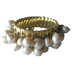 Vintage Faux Pearl Bead Expansion Bracelet / Expansion Bracelet / Wedding Bracelet / Bridal Bracelet / Wedding Jewelry / Bridal Jewelry
