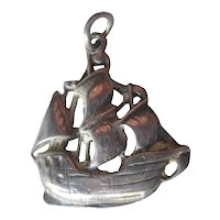 Sterling Three Masted Ship Charm / Vintage Jewerly / Charm Bracelet / Pirate Ship