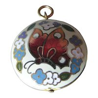 Vintage Cloisonne Butterfly Double Sided Charm or Pendant / Vintage Jewerly / Charm Bracelet / Necklace Pendant