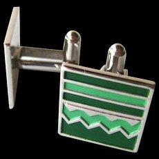 Green Enamel Speidel Mid Century Silver Cufflinks / Cuff Links / Mens Fashion / Mens Gift