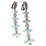 Lewis Segal Crystal Earrings Extra Long / Shoulder Duster Earrings / Vintage Costume Jewelry / Clip On Earrings / Bride Earrings