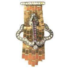 Dorsons Buckle Pin - 12K Gold Filled Pin - Art Deco Pin - Amethyst Rhinestone Brooch - Signed Jewelry - Costume Jewelry - Estate Jewelry Pin
