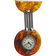 Root Beer Lucite Watch Pin In Working Condition - Mechanical Watch Brooch - Art Deco Watch - Fidelity Wind Up Watch