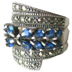 Sterling and Blue Synthetic Sapphire and Marcasite Ring - Wide Ring - Cocktail Ring