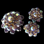 Weiss Amethyst Rhinestone Brooch and Earring Set - Costume Jewelry Pin - Costume Jewelry Earrings - Clip on Earrings
