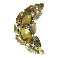Citrine Rhinestone Moon Brooch - Costume Jewelry Pin
