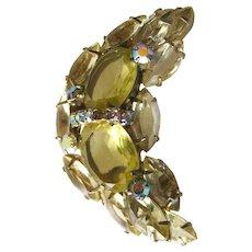 Citrine Rhinestone Moon Brooch - Costume Jewelry Pin