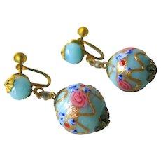 Venetian Wedding Cake Bead Earrings With Screw Backs - Vintage Earrings - Glass Bead Earrings - Screw Back Earrings - Lamp Work Beads